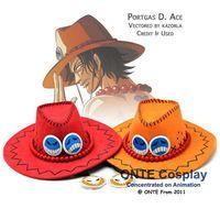 Японии аниме Одна деталь Костюмы для косплея реквизит Portgas D Ace Шляпы ковбойские Для мужчин модные Защита от солнца Джаз Кепки