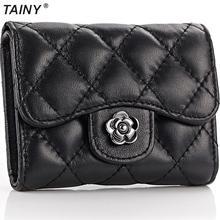 TAINY 2017 New Tainy Genuine Leather Sheepskin Women Lady Plaid Mini Wallets Short Wallets Card
