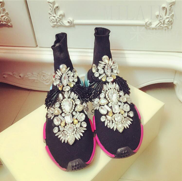 Crystal Sock Sneakers Women Sneakers with Crystals Rhinestone Sock ... f2e3c22dad2d