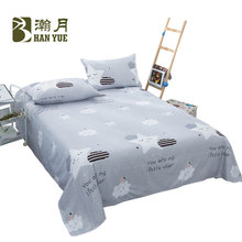 Home Simple Cartoon Color Flat Bed Sheet King Size Cotton Blend Printed Queen Sheets And Pillowcase Covers