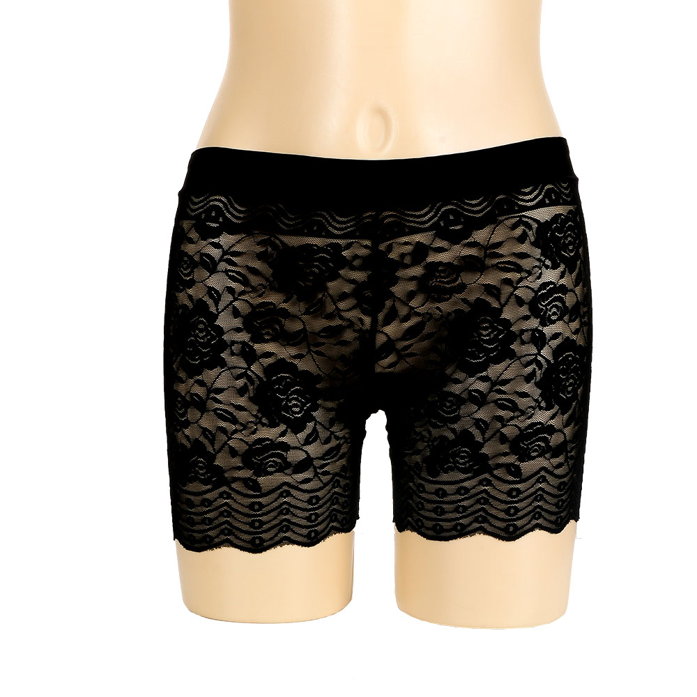 Fashion Seamless Summer Shorts Breathable Anti-exposure Sexy Hollow Out Lace Flower Breathable Shorts For Women Girls