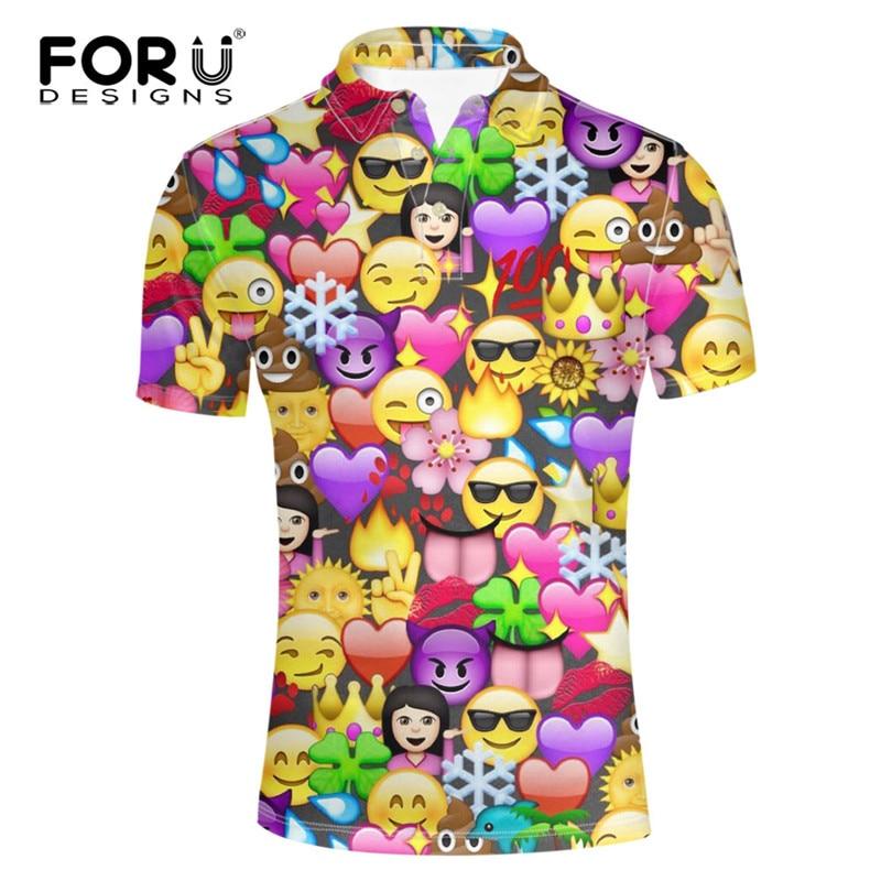 FORUDESIGNS Funny Emoji Camisa Polo Mens Roupas de Marca Ocasional de Manga  Curta Top   T para o Sexo Masculino Impressão Dos Desenhos Animados 3D  Conforto ... 017b5353b4e8f