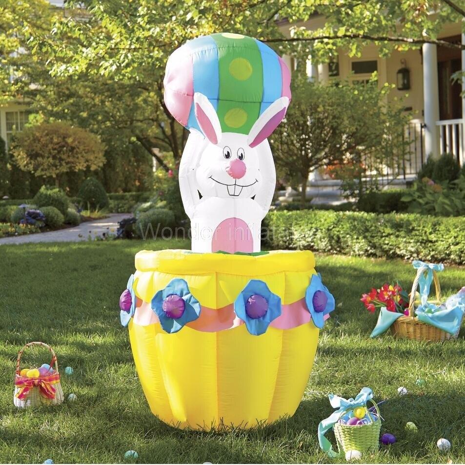 Vente chaude sauter 8ft animé gonflable lapin de pâques dans le panier éclairé décoration de cour à la maison