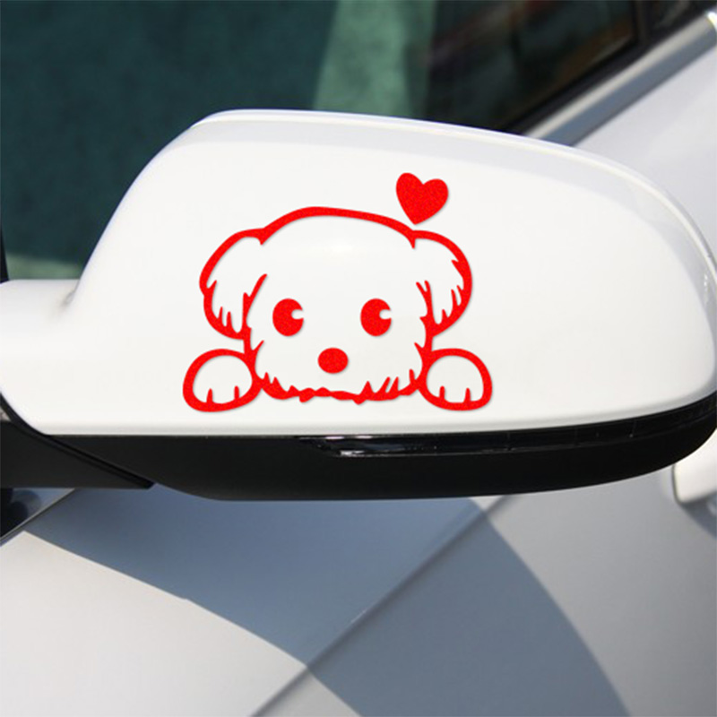 Lovely dog Rearview Mirror stickers decal Car-Styling For ford focus VW golf gti cruze Fiesta renault accessories