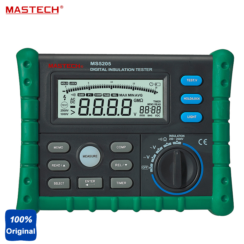 MegOhm Meter Mastech MS5205 Megameter 2500V Digital Insulation Tester digital insulation resistance meter tester ms5205 2500v analogue multimeter megohm meter 0 01 100g ohm