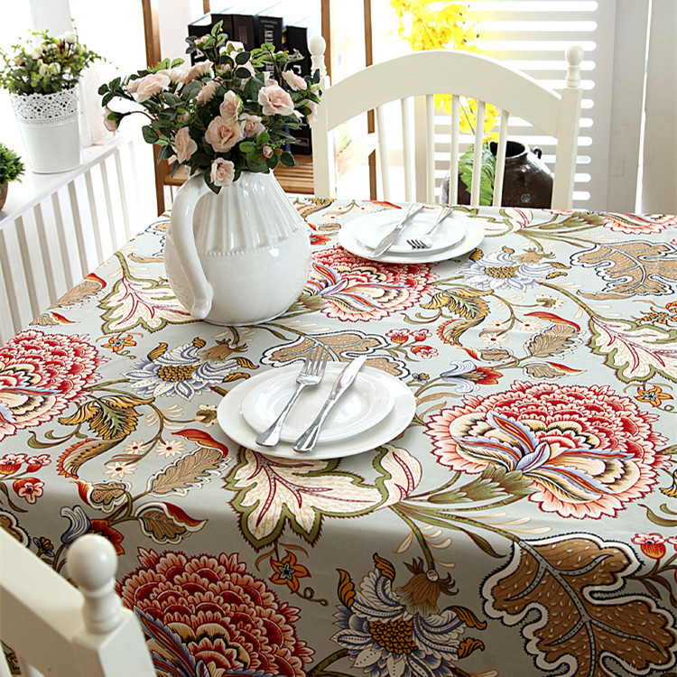 Slow Soul Floral Thickened Table Cloth Pastoral Banana Leaves Pattern Canvas Cover  American Style Tablecloth Home Decor ZB-122