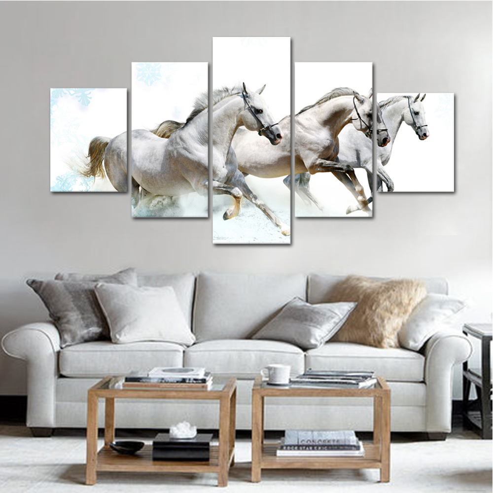 Unframed HD Print 5 Canvas Art Paintings Horse Group Canvas Mural Living Room Decoration Picture Unframed Free Shipping