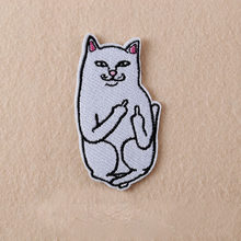 1Pcs Cat with The Finger Funny Embroidered Patch Iron on Sewing Applique Clothes Shoes Bags Decoration Patch Apparel DIY Patches(China)