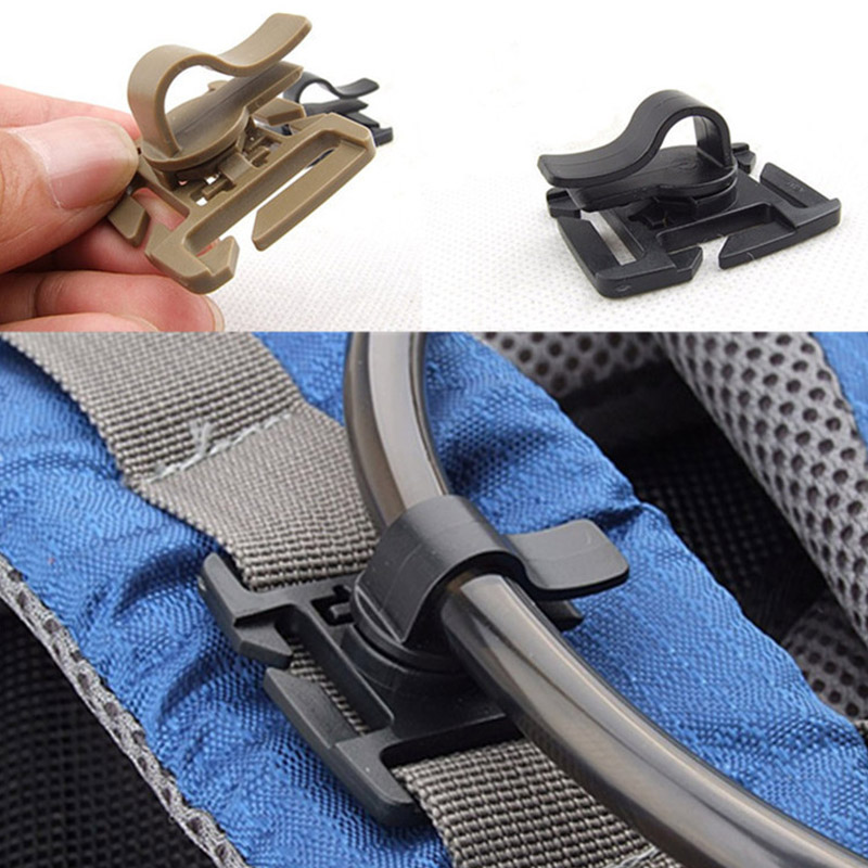 1PC Drink Tube Clip Fixed Gear Water Pipe Hose Clamp Molle Backpack Tactical Buckle Outdoor Hike Hydration Bladder Accessories