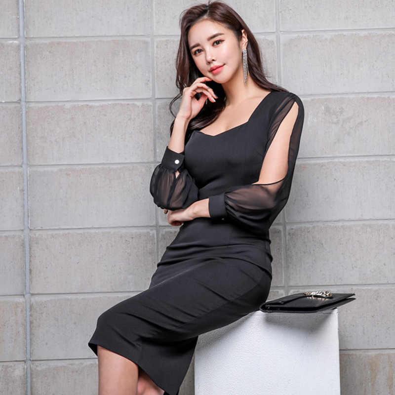 Черное элегантное офисное платье 2019, весеннее женское платье, шифоновое платье с длинными рукавами, платье-карандаш