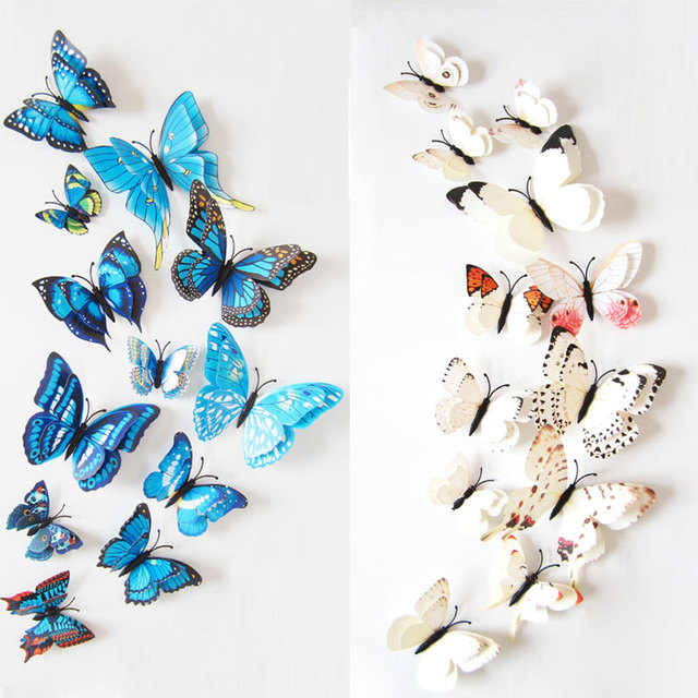 12pcs Wall Stickers Set 3D Butterfly Colorful Double Layers Wall Stickers on the Wall for Party Decoration Waterproof Material