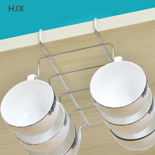 Under Cabinet Stainless Steel Holder Drying Rack Mug Cup Rack Kitchen  Hanging Organizer Cupboard Hook Organizers