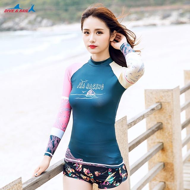 d1eff7daa2 2017 Lady Summer Sun UV Protection Swimwear Rash Guard Women Long Sleeve  Swim T Shirt Woman Beach UPF 50+ Surfing Diving Suits