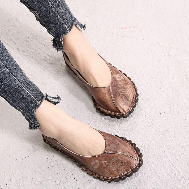 Planos Retro Mujeres Mano Bordado Señora De Pisos Vintage Zapatos Cuero A Los La Holgazanes Hechos Marca Genuino Coffee 2019 Las Primavera 4xY4nqr
