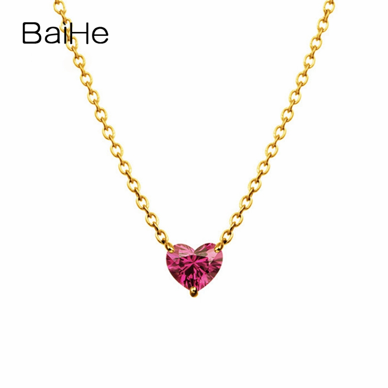 BAIHE Solid 18K Yellow Gold 4mm Certified 100% Genuine Natural Garnet Women Engagement Trendy Fine Jewelry Elegant Necklaces baihe solid 18k yellow gold au750 engagement