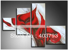 beautiful Modern abstract red lily Flowers on Canvas decorative Oil Painting for home decoration  Free shipping