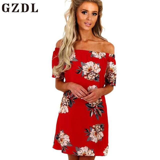 ee6754dfb7f GZDL Sexy Chiffon Red Women Clubwear Print Dress Vestido Fashion Off  Shoulder Slash Neck Short Sleeve Summer Mini Dresses CL4205