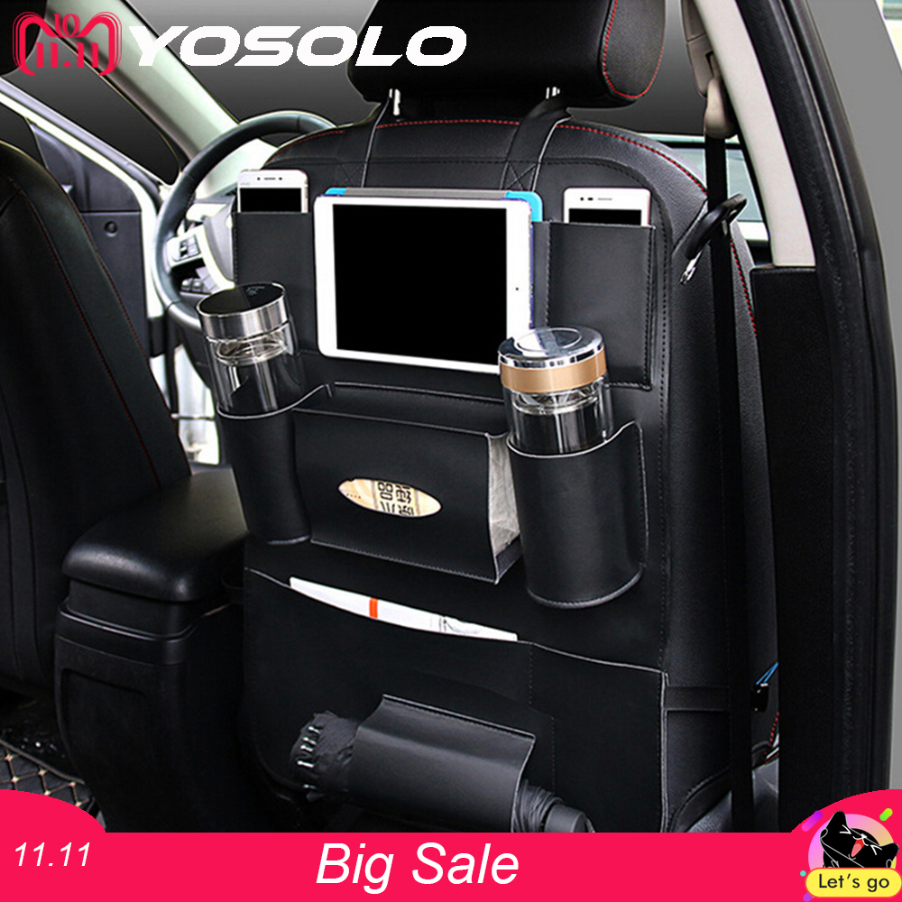 YOSOLO Car Seat Back Storage Bag Backseat Pockets Organizer Box Drink Magazine Tissue Phone Holder Stowing Tidying Accessories стоимость