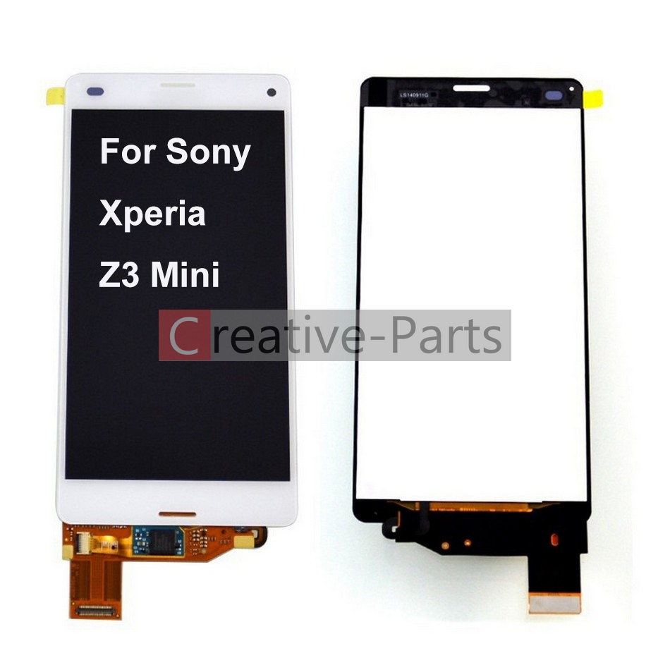 Color : White Black LCD Screen Mobile Phone and Digitizer Full Assembly with Frame for Sony Xperia Z3 Mini Compact
