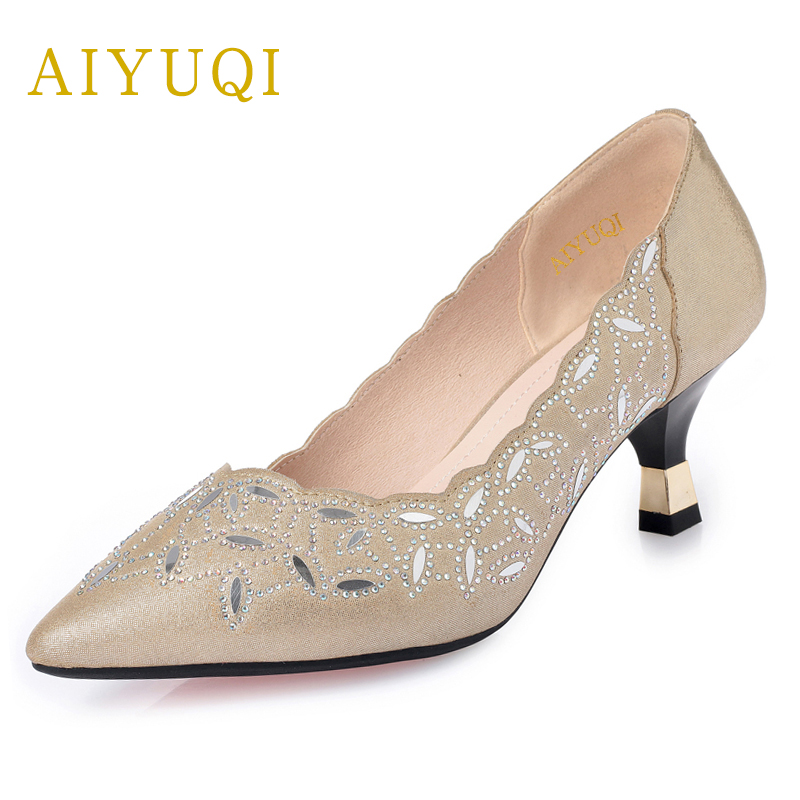 AIYUQI 2019 spring genuine leather women shoes hollow breathable hole women s shoes rhinestone pointed fashion