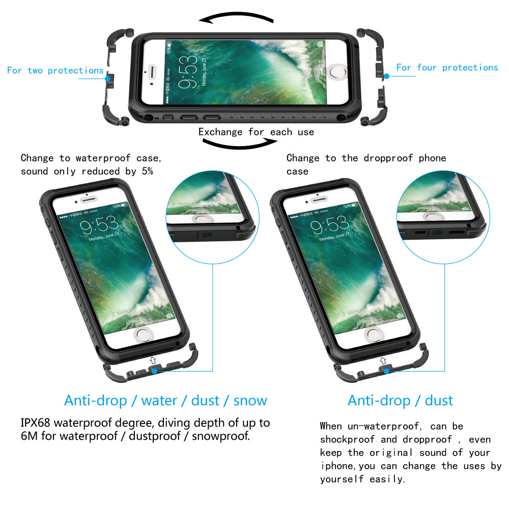 Image 4 - Luxury Shockproof Waterproof Case For iphone 7 Life and swimming dual use Waterproof Case For iPhone 6 6s 7 plus phone c-in Fitted Cases from Cellphones & Telecommunications