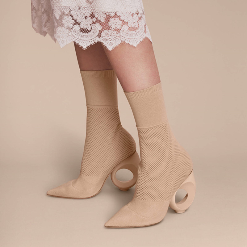 Eunice Choo Knitted Wool Elastic Boots Stylish Classics Party Woman Shoes Fabric Strange Heels Hollow Out Novelty Women Pumps eunice