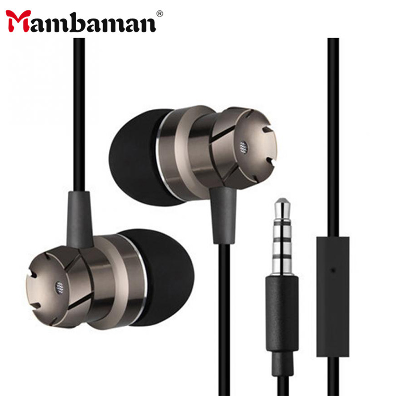 Mambaman Turbo Metal Earphones Sports Noise Cancelling Headphones for Phone Stereo Headset with Mic for Xiaomi Computer iPhone