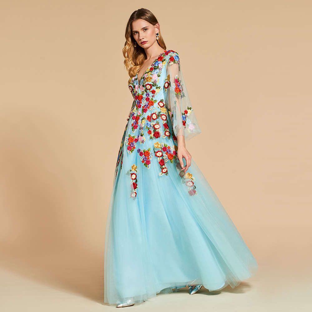 Dressv sky blue elegante lange abendkleid v ausschnitt 3/4 ärmeln ...