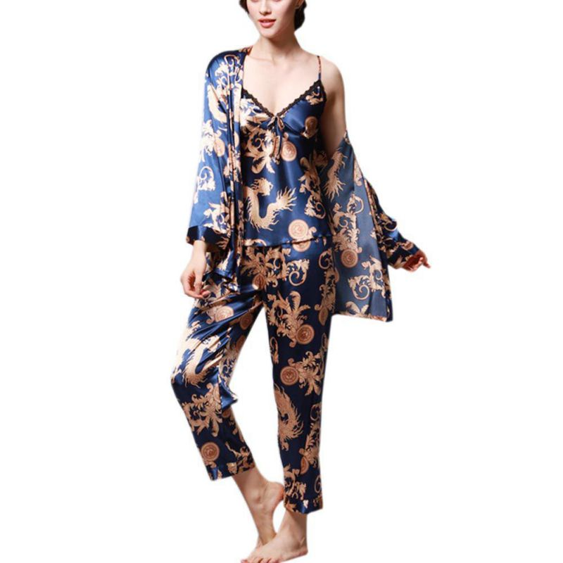 Dragon Print 2018 Hot sale Spring Autumn Women Robe Sexy Sle