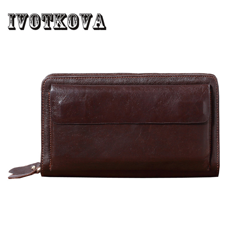 IVOTKOVA Men Wallets Fashion Genuine Leather Wallet Male Purse Men Clutch Wallets Money Bag Ladies Card Holder Birthday Gift men wallet male cowhide genuine leather purse money clutch card holder coin short crazy horse photo fashion 2017 male wallets