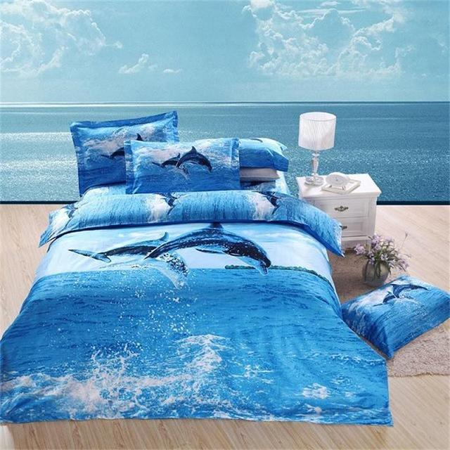 Fashion 3d Oil Painting Dolphin Blue Ocean Bedding Set For