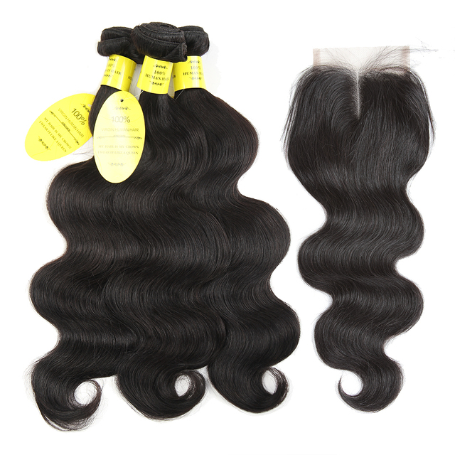 Queen like Hair Products Brazilian Body Wave Lace Closure Non Remy Weft Hair Weave 3 Bundles Human Hair Bundles With Closure