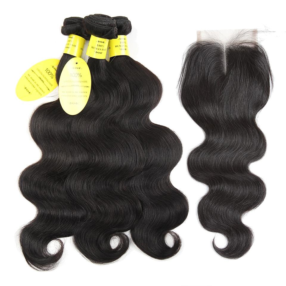 Dronning som hårprodukter brasiliansk kropsbølge med lukning non - Menneskehår (sort)