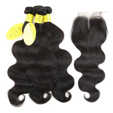 Dronning som hårprodukter brasiliansk kropsbølge med lukning non remy hårvæv væv 3 knipper menneskehår pakker med lukning
