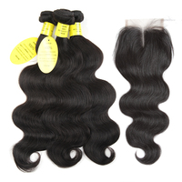 Queen Like Products Mink Brazilian Body Wave With Closure Non Remy Hair Weft Weave 3 Bundles