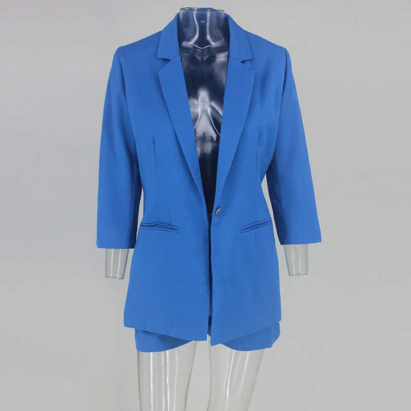 Tobinoone 2018, Осенние комплекты из двух предметов, официальный женский топ и шорты, Женский комплект 2 шт., сексуальный, v-образный вырез, длинный рукав, элегантный, официальный комплект