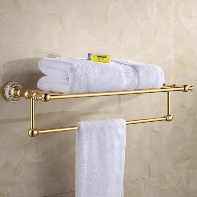 Bathroom wall mount golden Aluminum towel rod rack shelf towel ...