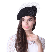 Free Shipping Women Beret Hats French Berets Felt Hats Net Mesh Flower 100% Wool With Women Shawl Set