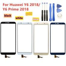 Yüksek kaliteli dokunmatik ekran için Huawei Y6 2018 / Y6 başbakan 2018 dokunmatik ekran paneli sayısallaştırıcı sensörü ön cam lens yedek