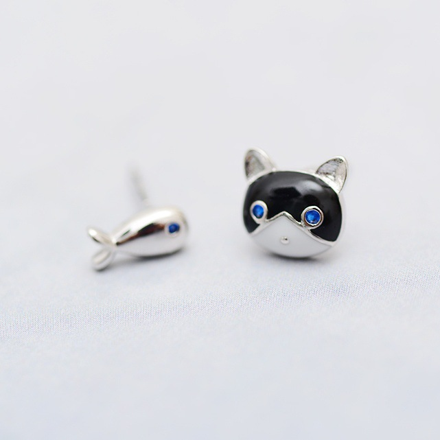 Bijoux Romantic Silver Color  Cat Fish Earrings For Women Girls Simple Earrings Pendientes Brincos Fashion Jewelry