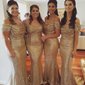 2016 Hot Sale Mermaid Gold Sequin Bridesmaid Dress Off Shoulder Wedding Party Gowns Maid of Honor Dress Floor Length BD72