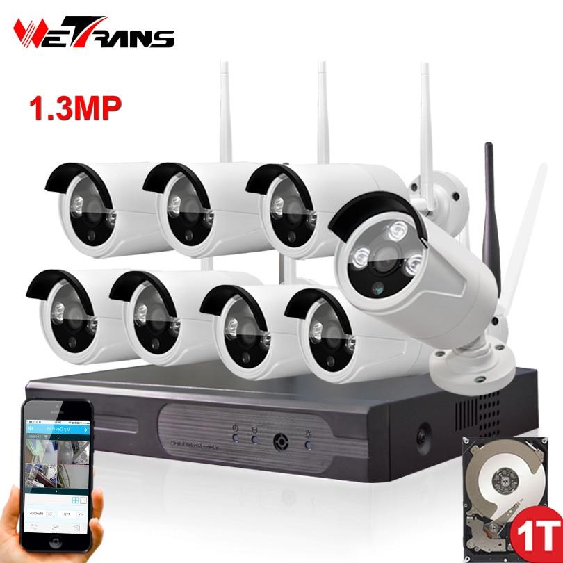 imágenes para Inalámbrica Sistema de Cámaras de Seguridad para el hogar 8CH HD 960 P P2P Nocturna Por INFRARROJOS visión Plug and Play 8 Canales 1.3 MP Wifi Videovigilancia camaras de vigilancia con wifi