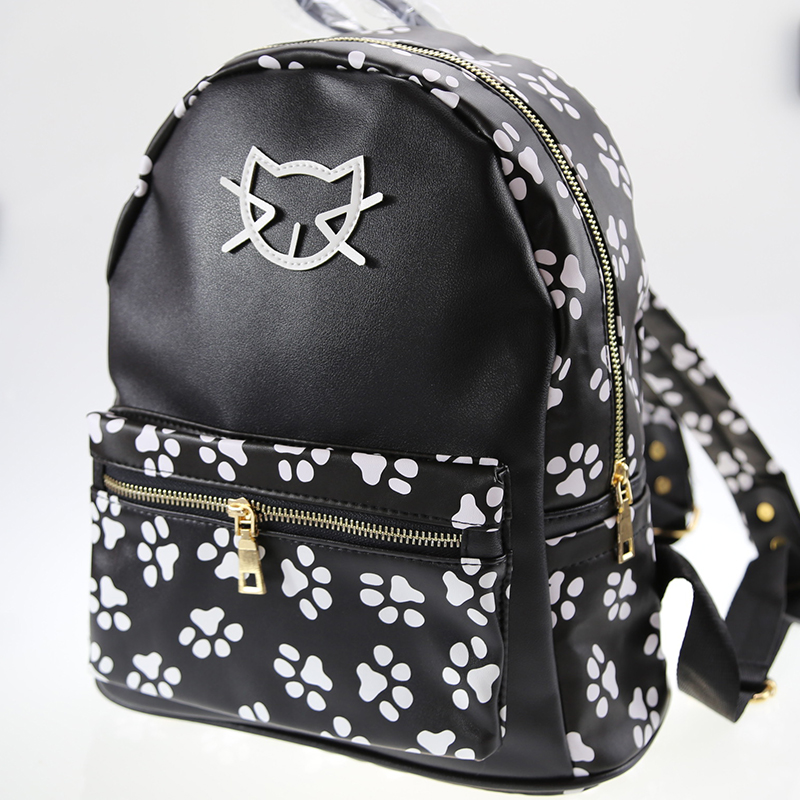 New Kitten Printing Kawaii Backpack Women College Wind Shoulder Bag Casual Bags Female Cat Pu Leather