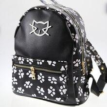Новый котенок печать каваи рюкзак Для женщин Колледж ветер сумка Повседневное Сумки кошка из искусственной кожи Kawaii Рюкзаки Harajuku