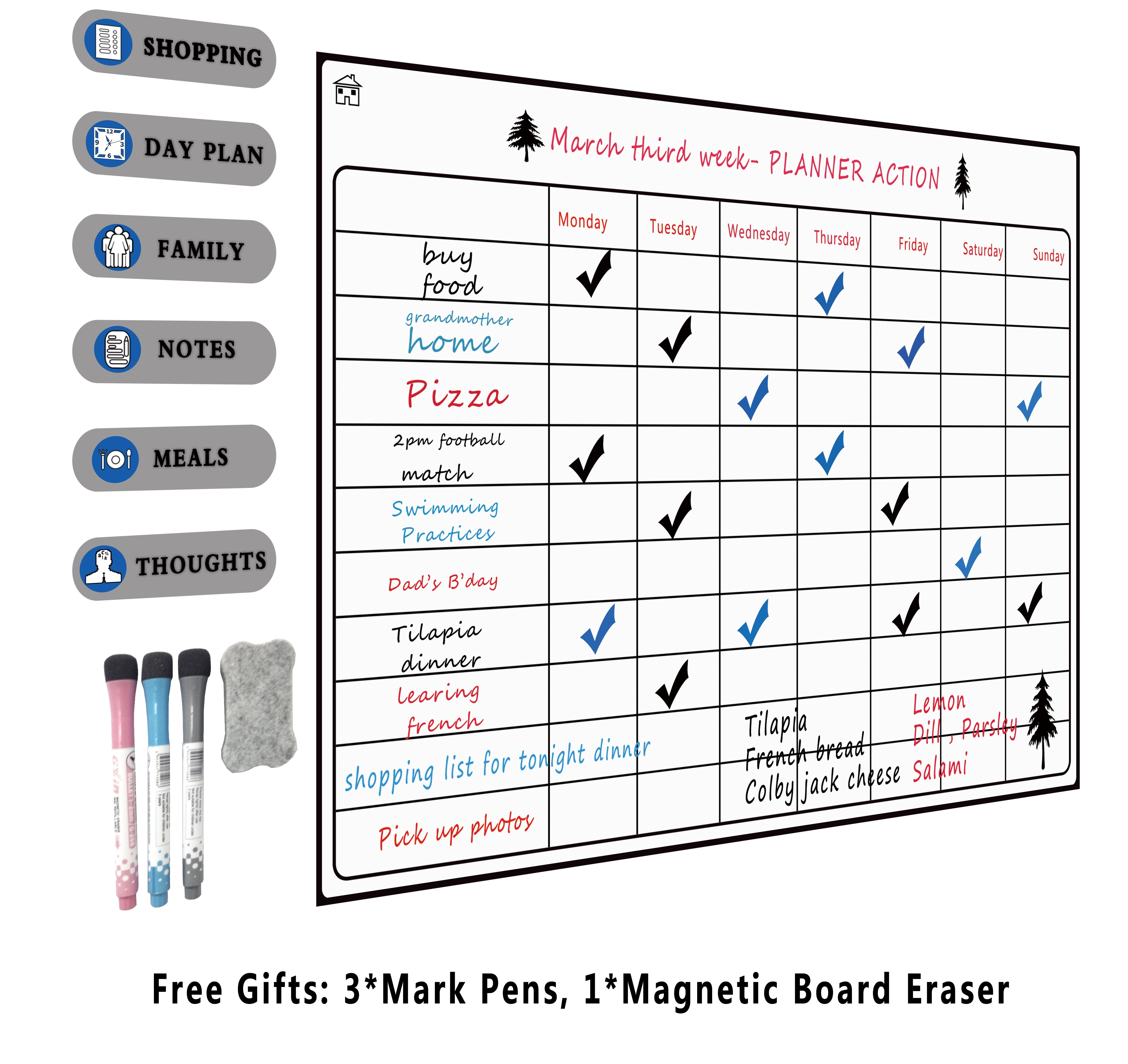 Magnetic A3 Planner Board Set For Kitchen Fridge Large Dry Erase