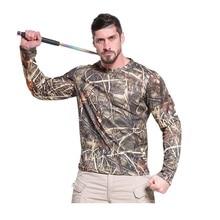 Мужская Летняя боевая рубашка, камуфляжная тактическая рубашка, быстросохнущая, дышащая, с длинным рукавом, военная, для улицы, бионическая, камуфляжная, Охотничья футболка