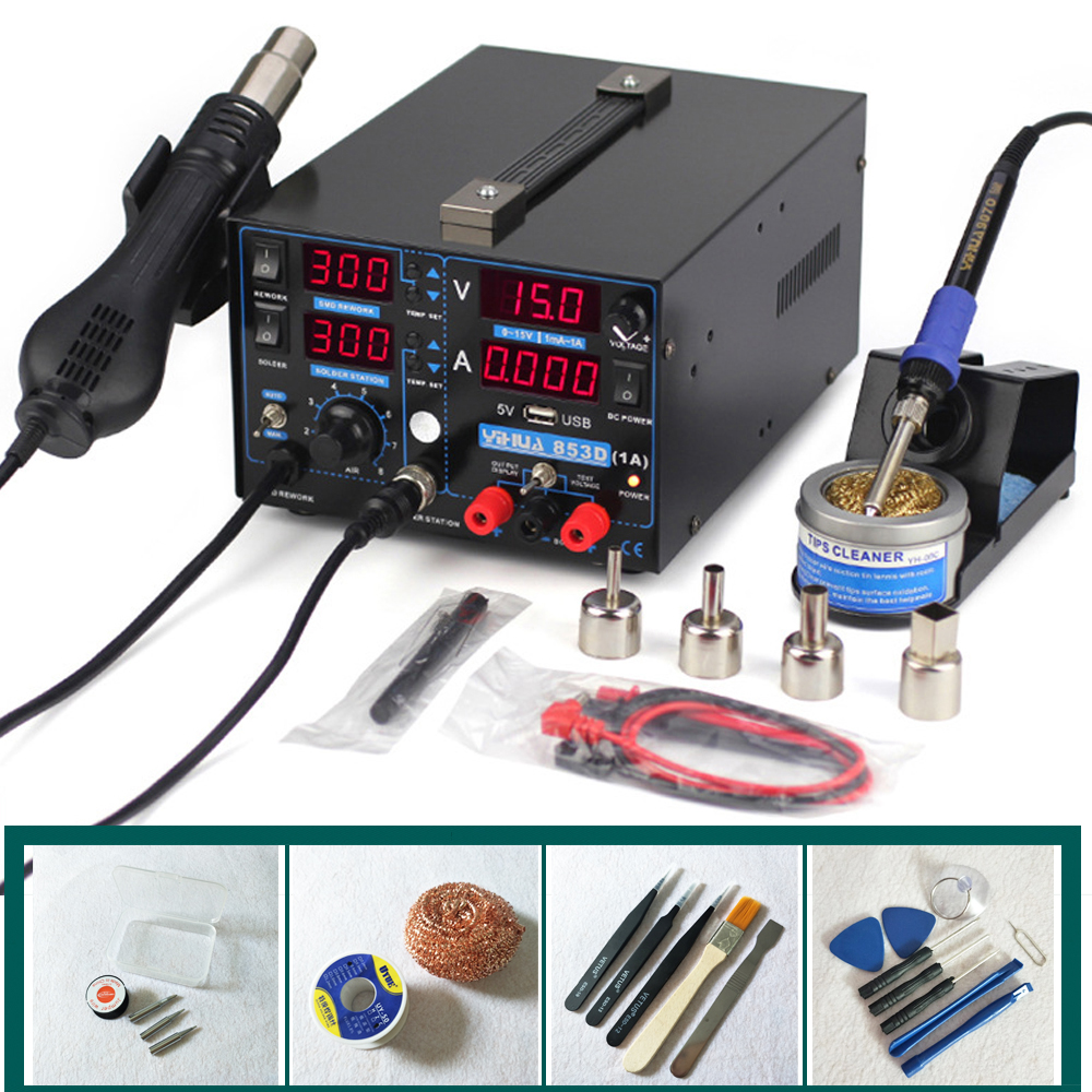 Mobile Phone Repairing 3 In 1 Soldering Station + Soldering Iron + Power Supply Hot Air Gun Rework Station YIHUA-853D 1A yihua 853d 3a 3 in 1 hot air solder rework station heat gun soldering iron 15v 1 a regulated power supply