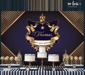 Image 2 - Personalizado coroa príncipe preto e ouro marinha listrado aniversário pano de fundo alta qualidade impressão computador festa