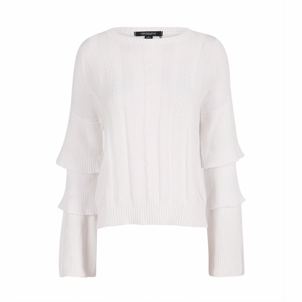 White tiered ruffle sleeve cable knit sweaters for women layered ...