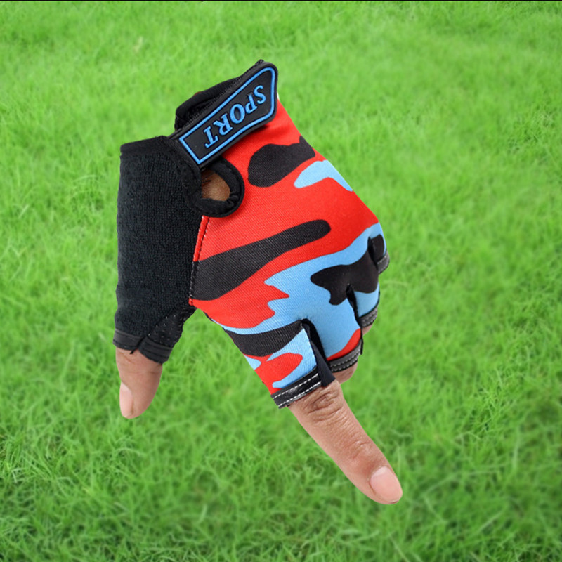 Long Keeper Cute Children Gloves Outdoor Sports Luvas For 4-12 Years Luvas Boys Girls Half Finger Sky Pattern Fingerless Mittens